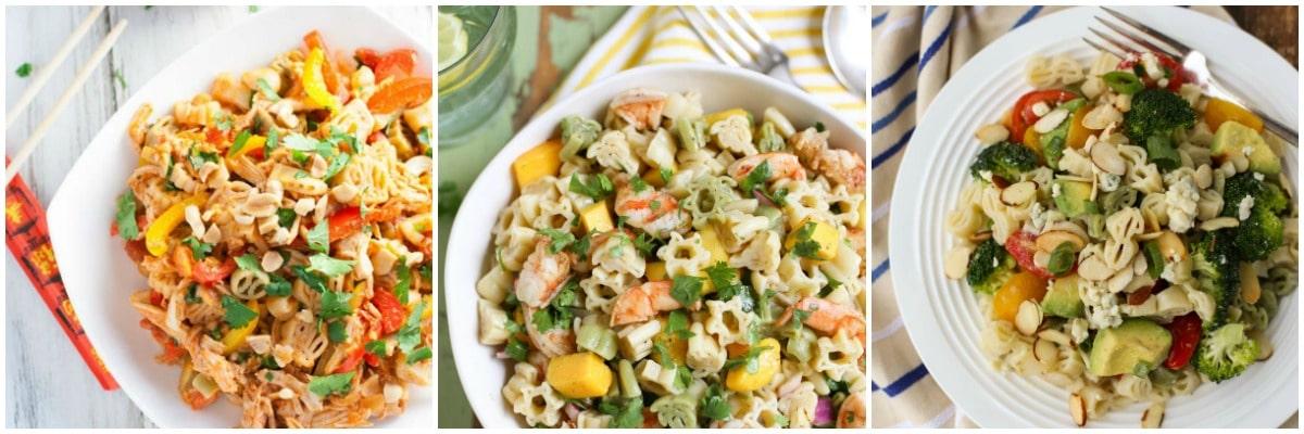 Three Summer Pasta Salads on plates