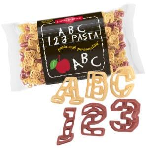ABC 123 Pasta Bag with pasta pieces