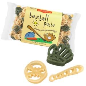 Baseball Pasta Bag with pasta pieces