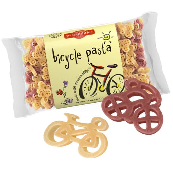 Bicycle Pasta Bag with pasta pieces