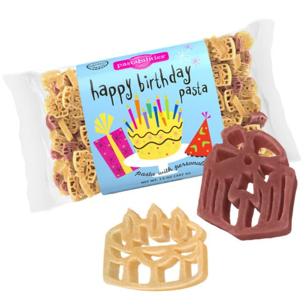 Happy Birthday Pasta Bag with pasta pieces