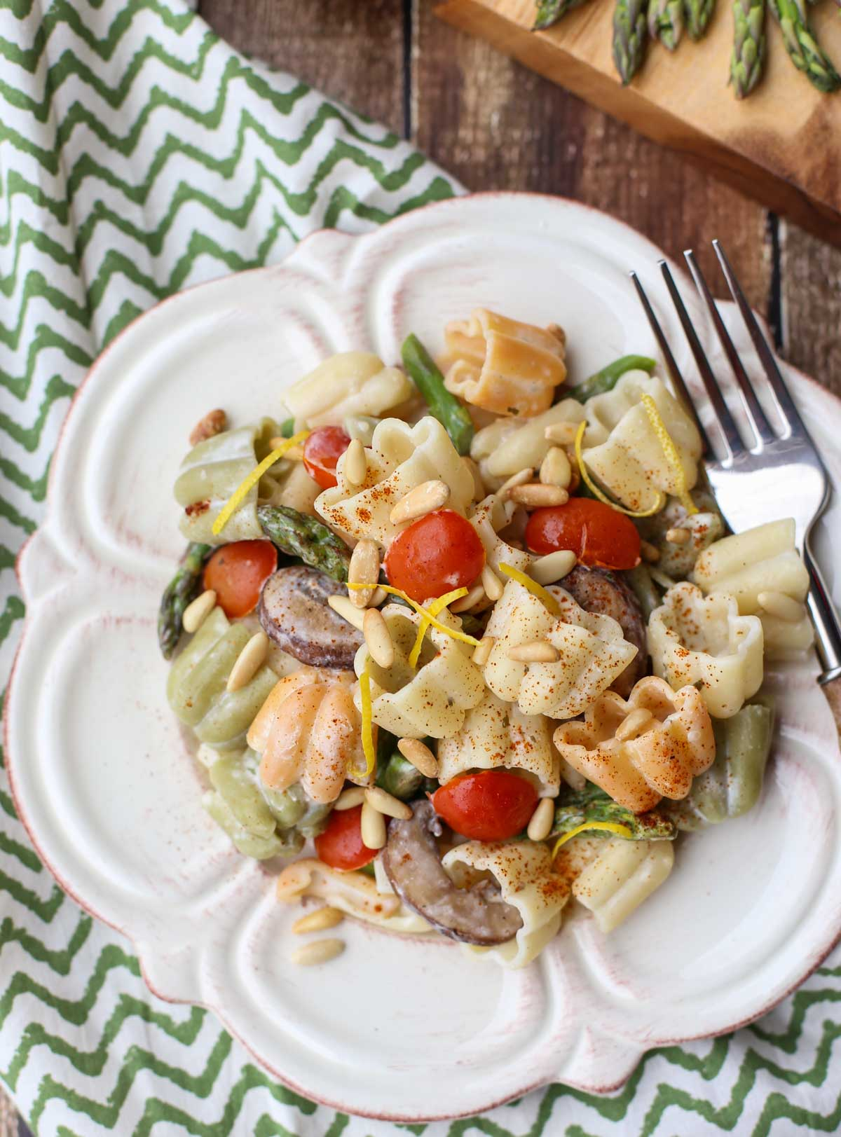 Boursin® Pasta with Oven Roasted Veggies | Simple recipe with sweet roasted veggies and a creamy sauce of Garlic and Herb Boursin Cheese...will become a favorite! Delicious side with grilled meats! | WorldofPastabilities.com