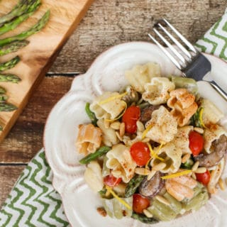 Boursin Pasta with Oven Roasted Veggies | Simple recipe with sweet roasted veggies and a creamy sauce of Garlic and Herb Boursin Cheese...will become a favorite! Delicious side with grilled meats! | WorldofPastabilities.com