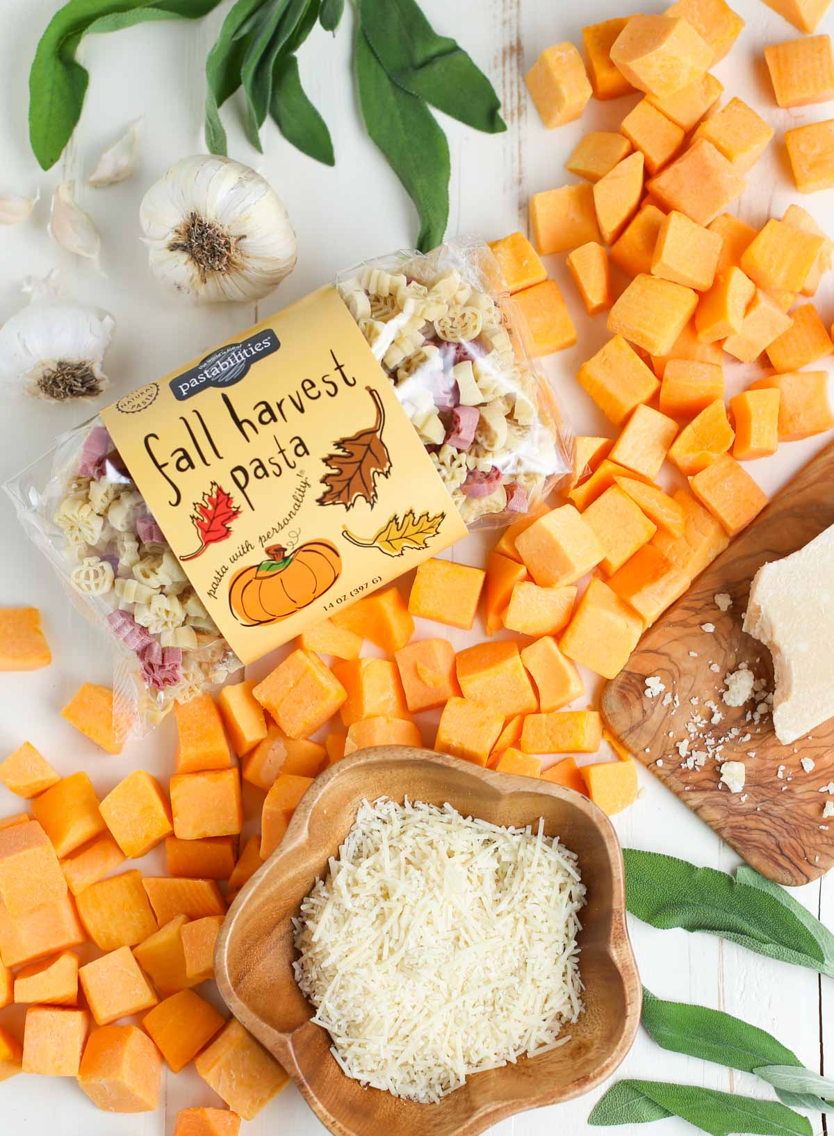 Butternut Squash Alfredo | Beautiful display of ingredients loose including a bag of Fall Harvest Pasta