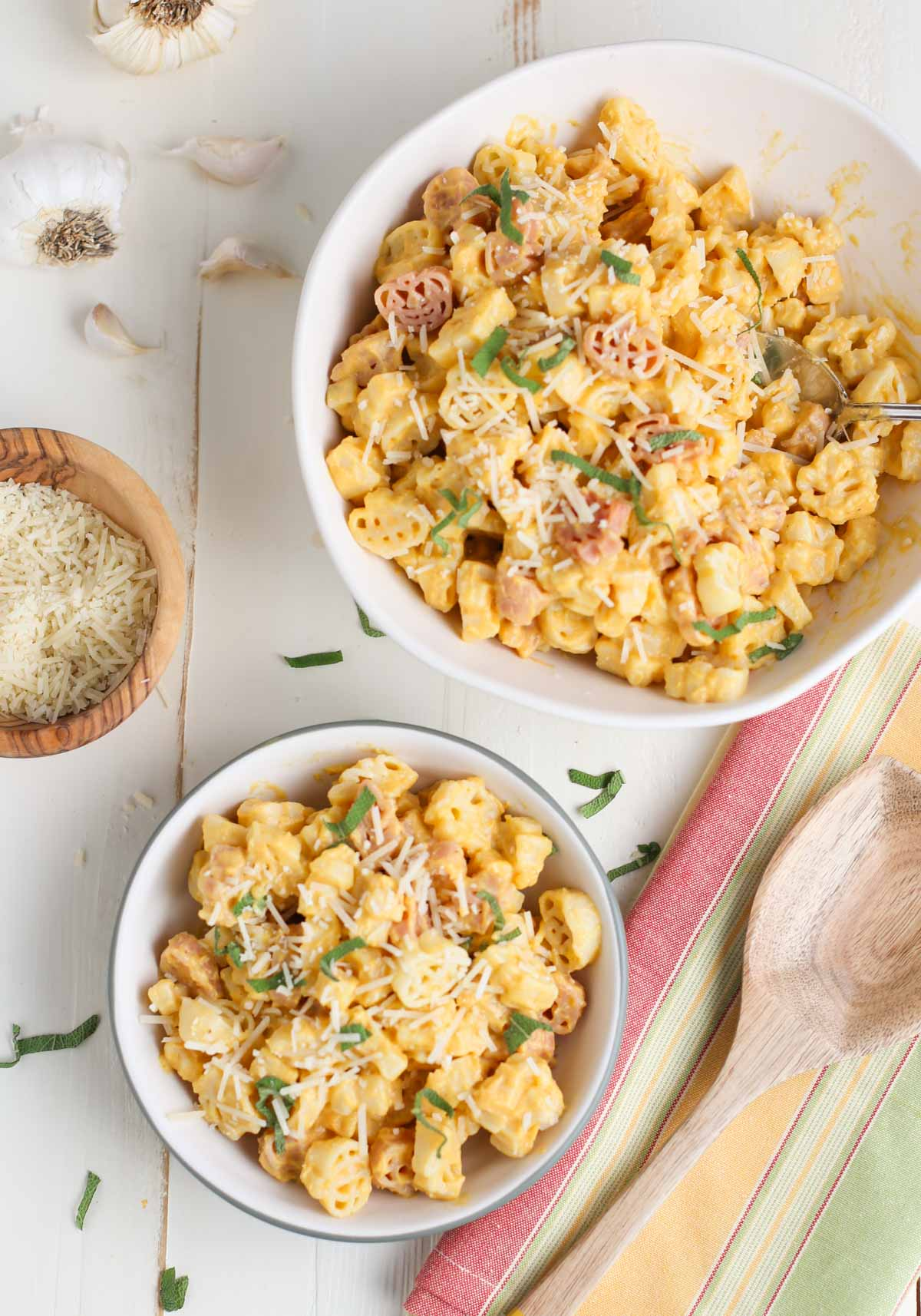 Butternut Squash Alfredo | Two bowls of pasta, one small and one large
