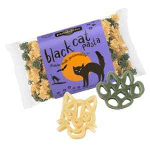 Black Cat Pasta Bag with pasta pieces
