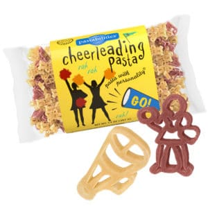 Cheerleading Pasta Bag with pasta pieces