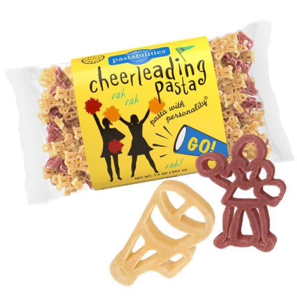 Cheerleading Pasta Bag with pasta pieces