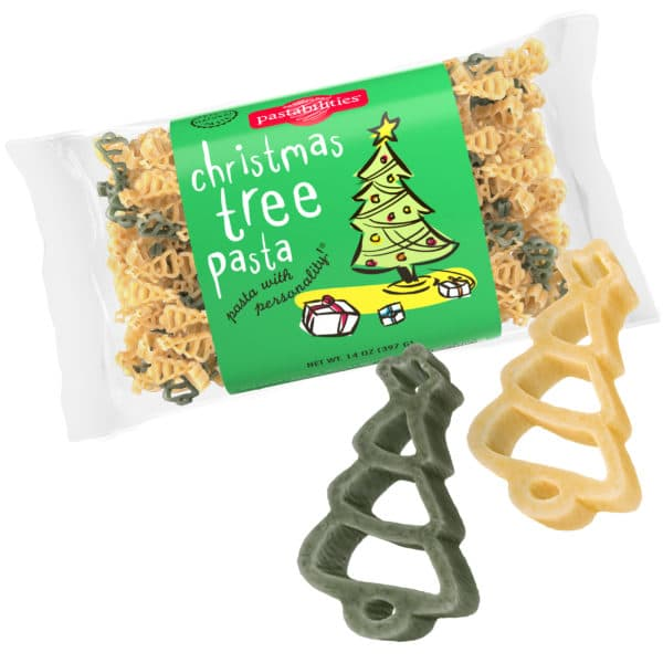 Christmas Tree Pasta Bag with pasta pieces
