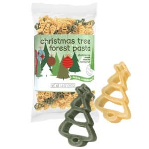 Christmas Tree Forest Pasta Bag with pasta pieces