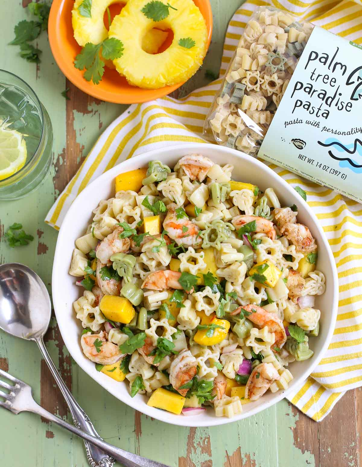 Caribbean Pasta Salad with image of Palm Tree Pasta Bag