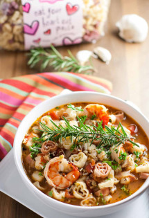 Cioppino with Heart Pasta | WorldofPastabilities.com | Fabulous fish stew with tons of flavor and texture! Delish to serve to your Valentine, also an easy make ahead dish for your guests on any night! Healthy and a WOW!