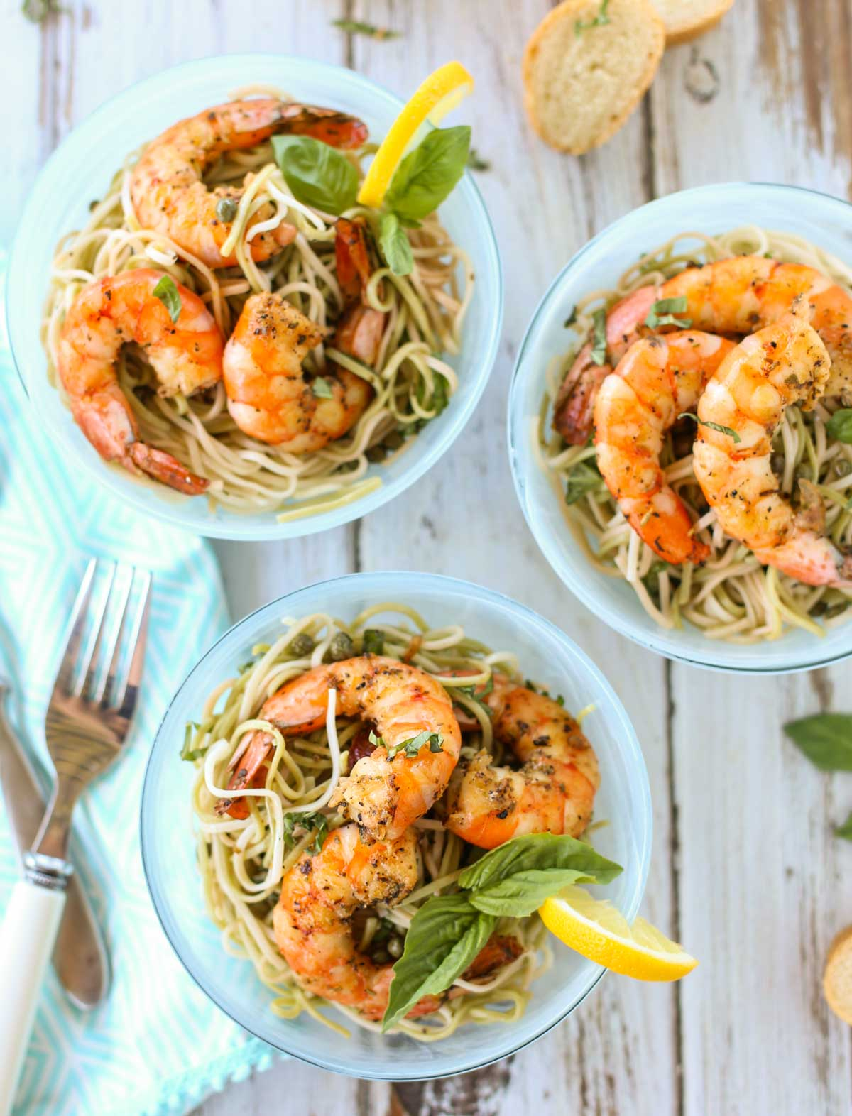 Creole Shrimp with Lemon Basil Pasta   Delicious Creole Spicy Shrimp atop a tangy lemon pasta, a perfect blend of flavors and textures! Serve for dinner at the beach or any poolside gathering. A wonderful simple treat for all! Yum!   WorldofPastabilities.com