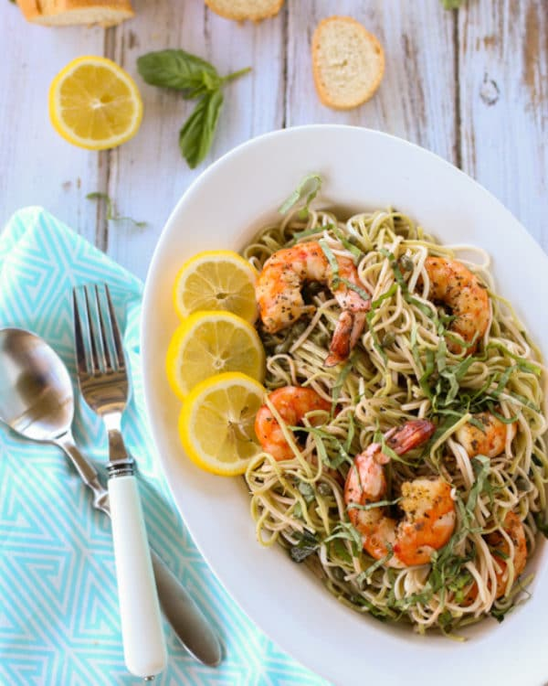 Creole Shrimp with Lemon Basil Pasta | Delicious Creole Spicy Shrimp atop a tangy lemon pasta, a perfect blend of flavors and textures! Serve for dinner at the beach or any poolside gathering. A wonderful simple treat for all! Yum! | WorldofPastabilities.com
