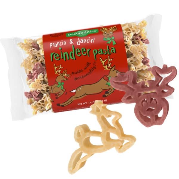Reindeer Pasta Bag with pasta pieces