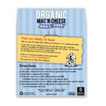 Dog Lovers Organic Mac and Cheese Back Label