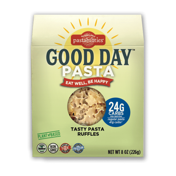 Good Day Pasta box with window showing pasta ruffles shape