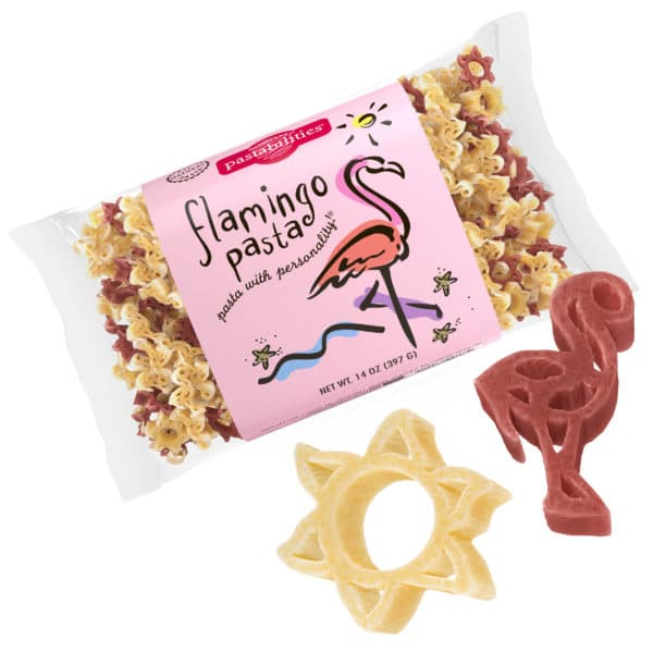 Flamingo Lovers Pasta Bag with pasta pieces