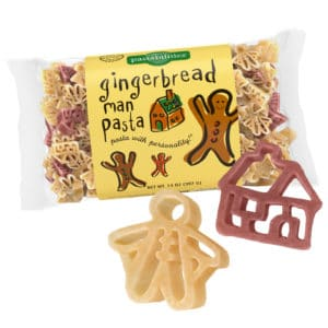 Gingerbread Man Pasta Bag with pasta pieces