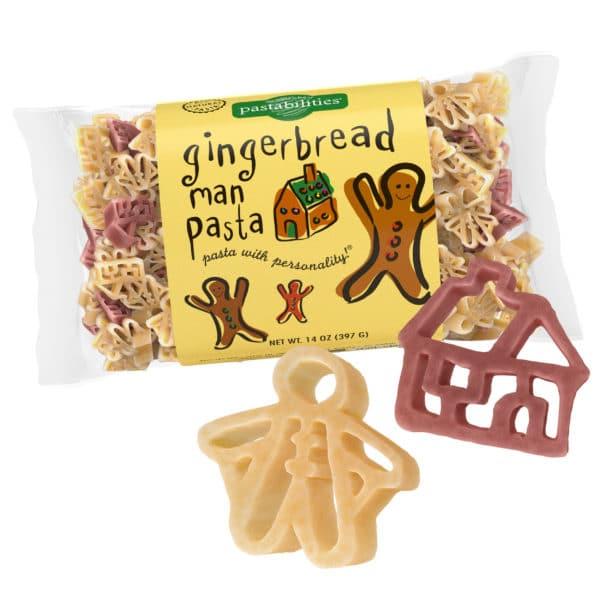 Gingerbread Man Pasta Bag with pasta pieces