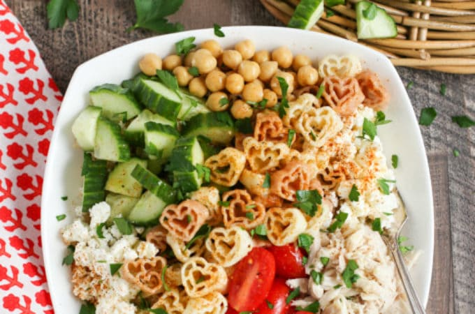 Greek Pasta Bowl tight shot with diced cucumbers