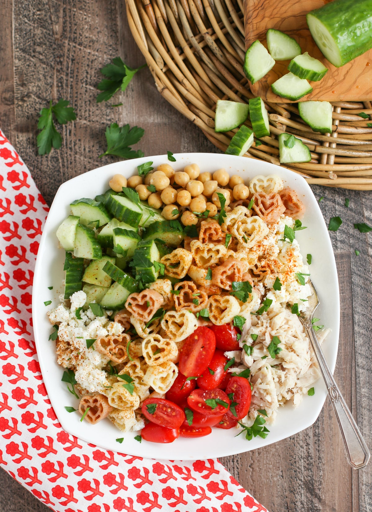 Greek Pasta Bowl Overhead with cucumbers