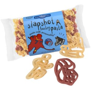 Slapshot Hockey Pasta Bag with pasta pieces