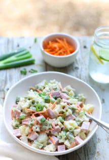Hawaiian Pasta Salad   WorldofPastabilities   Sweet summer pasta salad combines pineapple, ham, carrots, and green onions with a deliciously fresh dressing! Perfect for a grill night or served with a summer picnic!