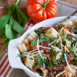 Healthy Beef Ragu with Mint | WorldofPastabilities.com
