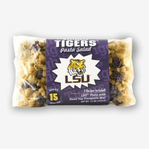 """Start the tradition this weekend with LSU """"Tigers"""" Pasta Salad! Your own Logo Shaped Pasta with a TOUCHDOWN Vinaigrette Mix included.   Pastashoppe.com"""
