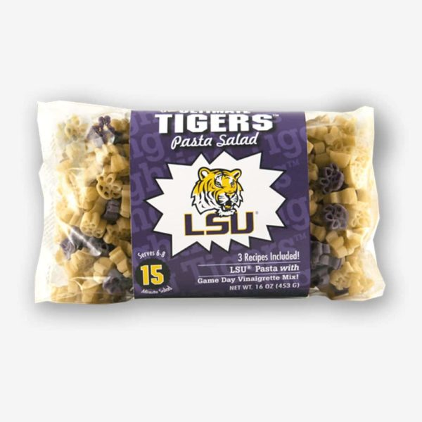 """Start the tradition this weekend with LSU """"Tigers"""" Pasta Salad! Your own Logo Shaped Pasta with a TOUCHDOWN Vinaigrette Mix included. 