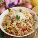 Lemon Shallot Pasta with Sun Dried Tomatoes | WorldofPastabilities.com