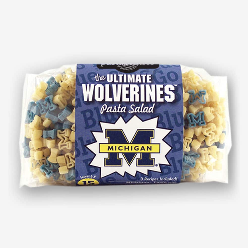 "Start the tradition this weekend with Michigan ""Wolverines"" Pasta Salad! Your own Logo Shaped Pasta with a TOUCHDOWN Vinaigrette Mix included. 