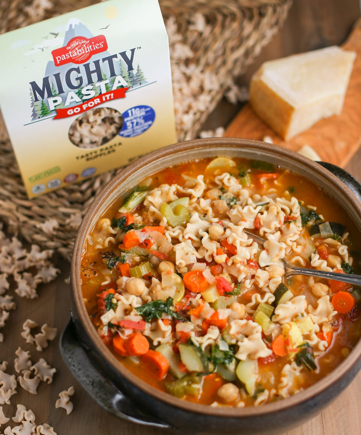 Mighty Minestrone Soup bowl with box of Mighty Pasta
