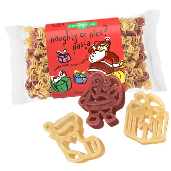 Naughty or Nice Pasta Bag with pasta pieces