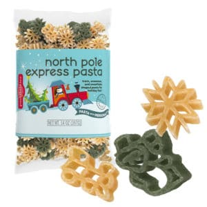 North Pole Express Pasta Bag with pasta pieces