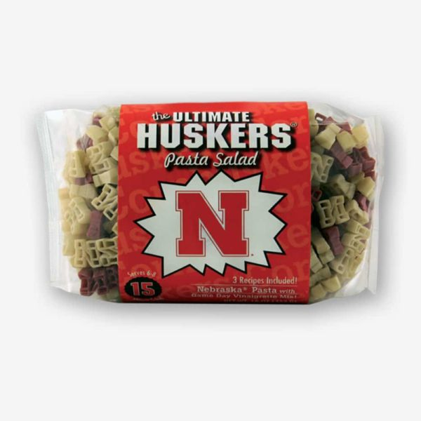 """Start the tradition this weekend with Nebraska """"Huskers"""" Pasta Salad! Your own Logo Shaped Pasta with a TOUCHDOWN Vinaigrette Mix included.   Pastashoppe.com"""