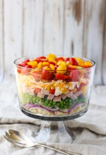 Nine Layer Pasta Salad | Nine layers of fresh textures and flavors combine to make a delicious pasta salad! A beautiful presentation that will wow your guests. Simple and Yum! | WorldofPastabilities.com