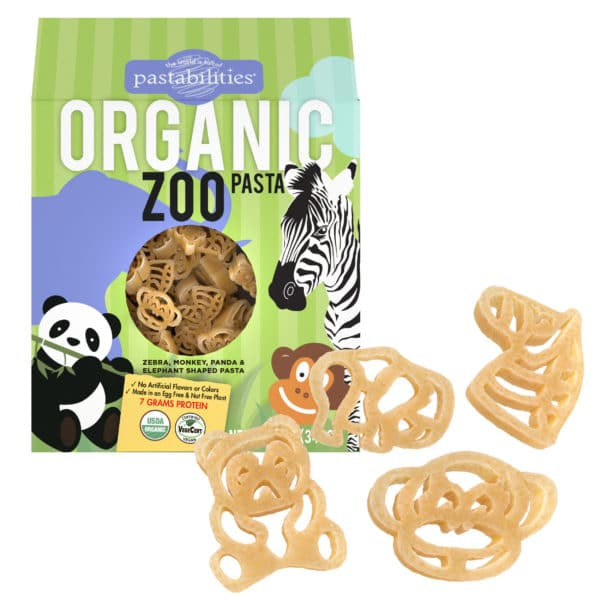Organic Zoo Pasta with pasta pieces showing zoo animal shapes