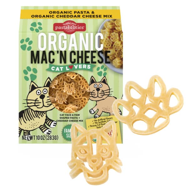 Organic Cat Lovers Pasta Box with pasta pieces