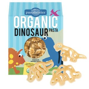 Organic Dinosaur Pasta Box with pasta pieces