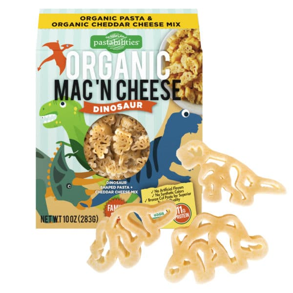 Organic Dinosaur Mac and Cheese with dino pasta shapes