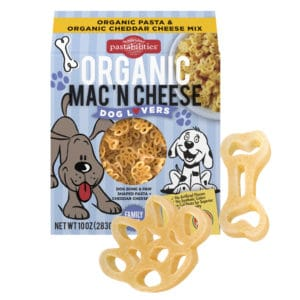 Organic Dog Lovers Mac and Cheese Pasta Box with pasta pieces