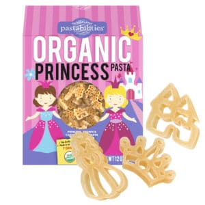 Organic Princess Pasta Box with pasta pieces