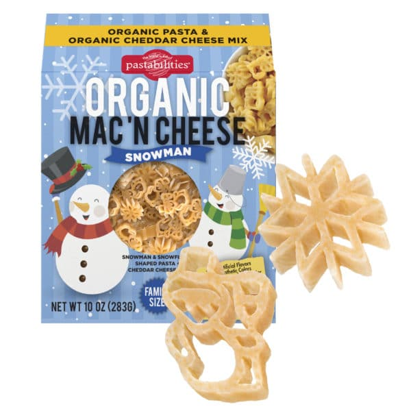 Organic Snowman Mac and Cheese box with pasta pieces