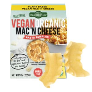 Organic Vegan Pasta Ruffles Mac and Cheese box with ruffle pasta piece