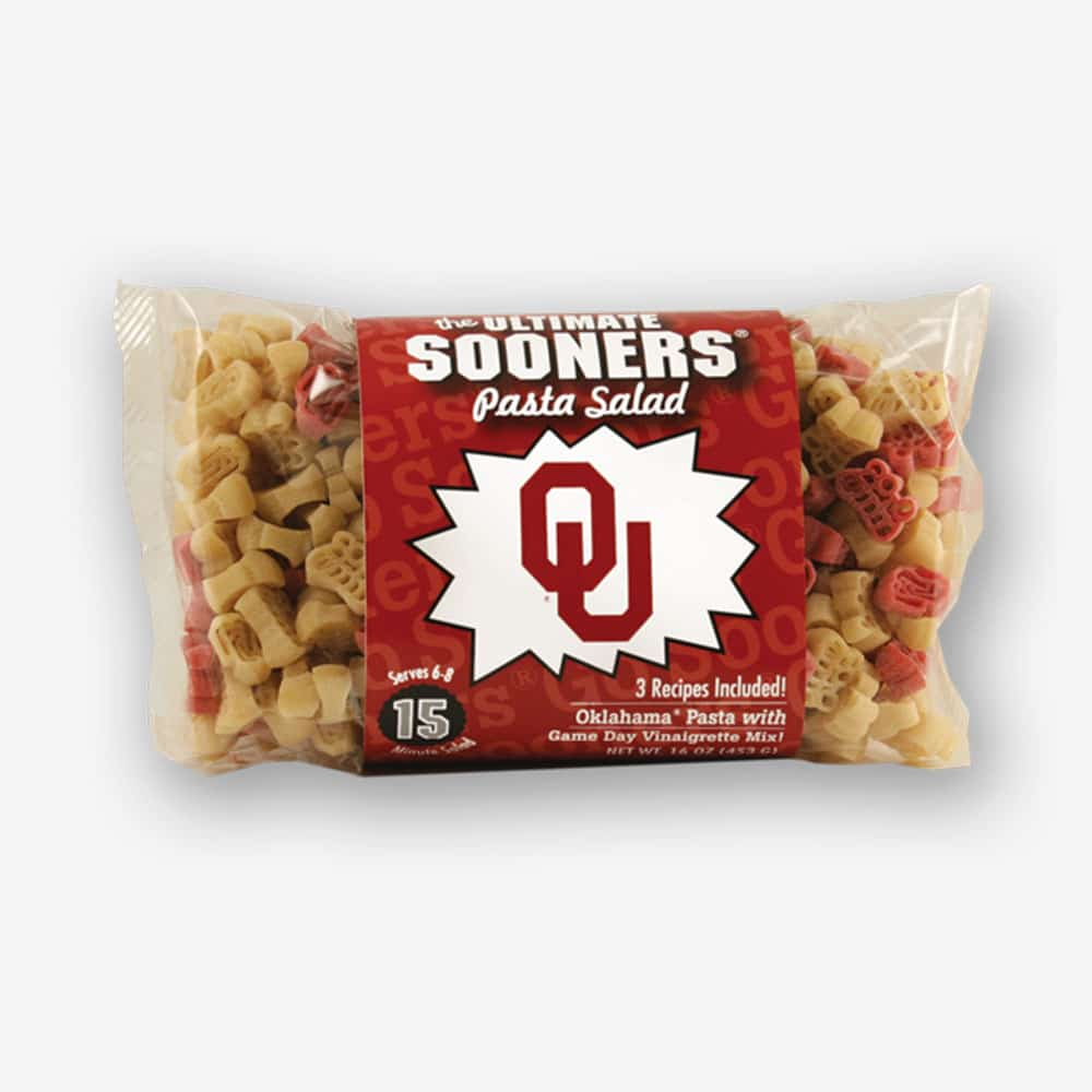 "Start the tradition this weekend with Oklahoma ""Sooners"" Pasta Salad! Your own Logo Shaped Pasta with a TOUCHDOWN Vinaigrette Mix included. Shop NOW! 