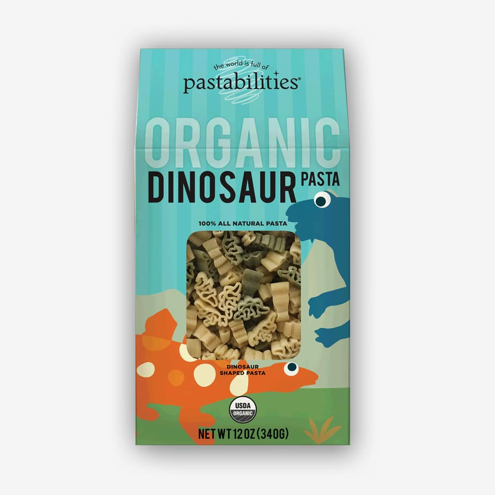Organic Dinosaur Pasta | Perfect bite sized pieces for little hands. Kids love dinosaurs! | Pastashoppe.com