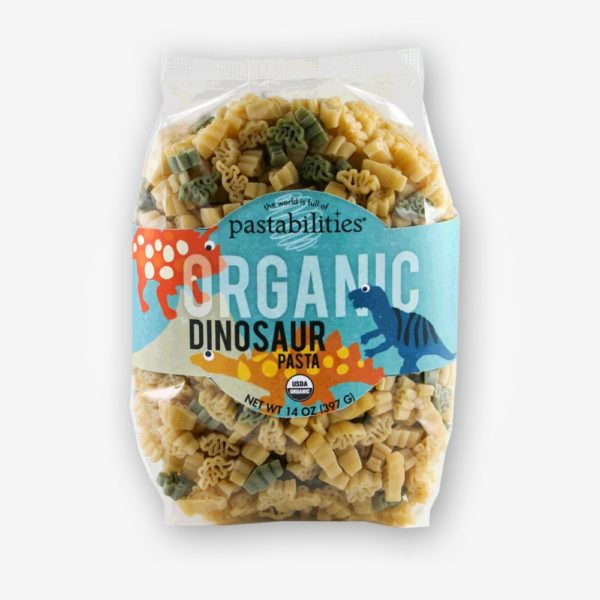 Organic Dinosaur Pasta | The Pasta Shoppe | Cute dinosaur pasta shapes are the perfect bite size for little hands! Have fun serving a healthy dinner!