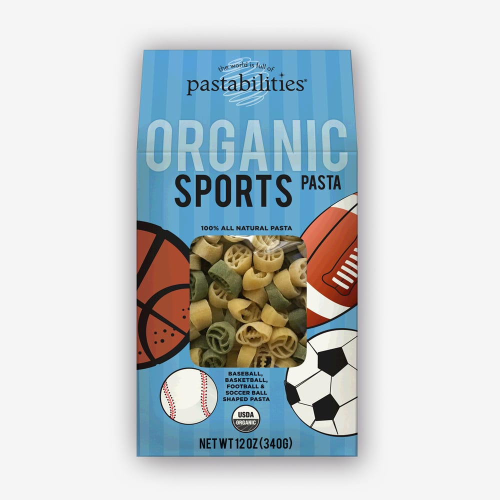 Organic Sports Pasta | Football, soccer, basketball, or baseball - we've got you covered! Fun and healthy for your little athletes! | Pastashoppe.com